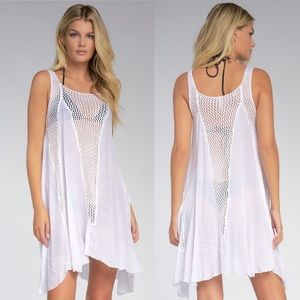 Nordstrom Elan White Crochet Dress Swim Cover Up L
